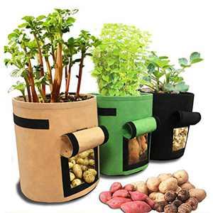 Odziezet Potato Grow Bag 10 Gallon Garden Planting Bag for Tomato Vegetable 3 Pack Growing Fabric Pots with Handle Access Flap