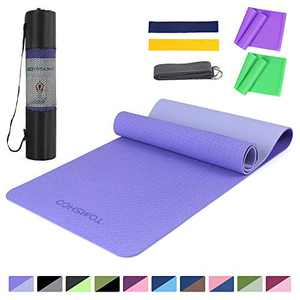 TOMSHOO 1/4In Yoga Mat with Resistance Bands Set, Professional Latex Elastic Bands, Non-Slip Texture Pro Yoga Mat Eco Friendly Exercise Mat Pad with Carrying Strap Mesh Bag for Home Gym Fit Sky Blue