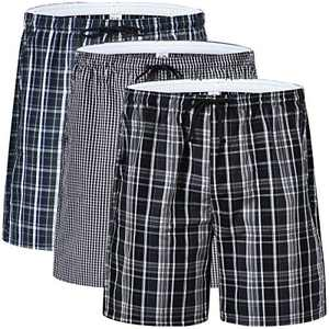 Men's Plaid Pajama Shorts Elastic Waisted Cotton Woven Sleep Shorts Lightweight Stretch Lounge Boxer Shorts with Pockets