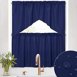 RYB HOME Waterproof Curtains for Kitchen - 4 Panels Swag Valances and Tiers for Windows, Rod Pocket Stain Proof Half Blackout Short Drapes for Bathroom Cafe Nursery, Navy Blue