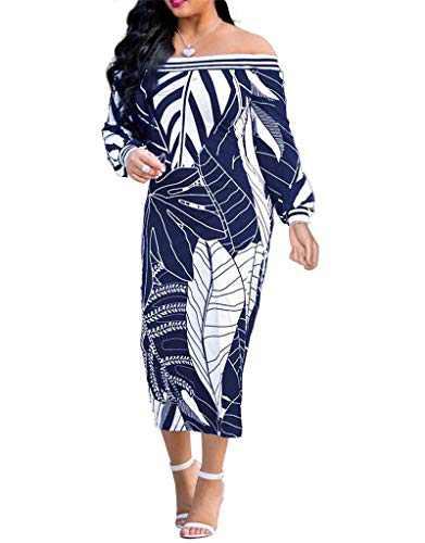GEMEIQ Women's Casual Dresses Off The Shoulder Long Sleeve Leaves Print Midi Bodycon Dress Blue
