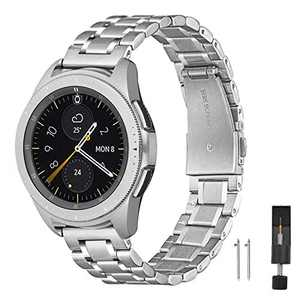 ZXCASD Metal Strap Compatible with Samsung Galaxy Watch 3 41mm band,Solid Stainless Steel Metal Replacement Wristband for Samsung Galaxy 42mm/Active 2 40/44mm (Silver, 40/44/42mm(20))