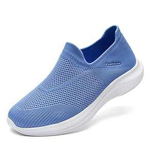 Lamincoa Women's Walking Shoes Fabric Breathable Slip On Sports Tennis Athletic Running Mesh Lightweight Sneakers Blue Size 6