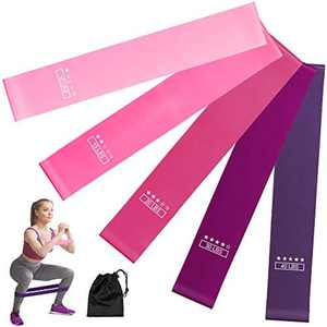 ERGO LIFE Resistance Loop Bands, Resistance Exercise Bands Set Workout Bands Pilates Flex bands W/Carry Bag for Home Fitness, Stretching, Strength Training, Yoga, Natural Latex, Set of 5