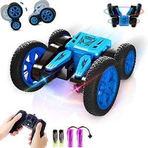 Free To Fly Remote Control Stunt Car for Kids: Double Sides 360° Flip RC Race Car | 2.4GHz 4WD Rechargeable Tornado Toys with LED Light | Boy & Girls Best Gift for Age 3 4 5 6 7 8-12 Year Old Kids