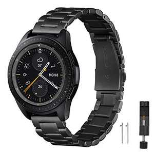 ZXCASD Metal Strap Compatible with Samsung Galaxy Watch 3 41mm band,Solid Stainless Steel Metal Replacement Wristband for Samsung Galaxy 42mm/Active 2 40/44mm (Black, 40/44/42mm(20))