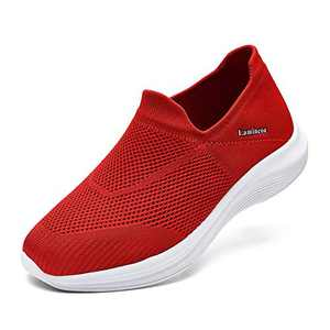 Women's Walking Shoes - Casual Breathable Athletic Tennis Slip on Sneakers Comfort Work Shoes Red Size 10