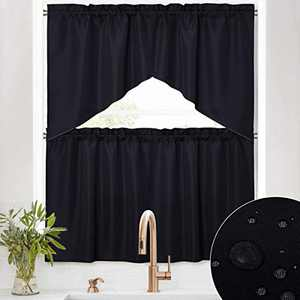 RYB HOME Swag Tiers Curtains - 4 Panels Waterproof Window Topper Valances and Half Window Curtains Room Darkening Privacy Draperies for Bedroom Kitchend Dining, Black