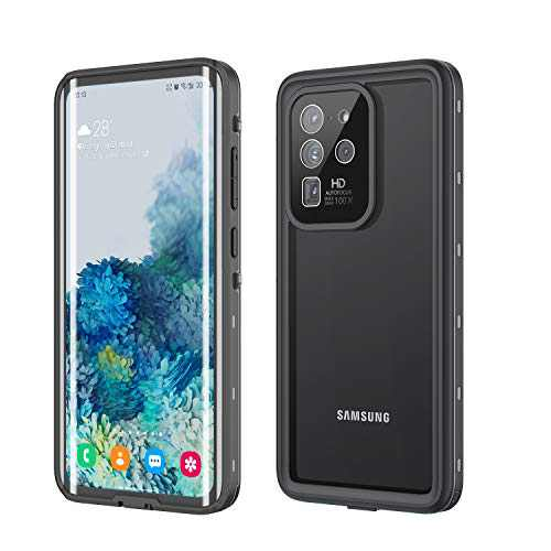 Fansteck Galaxy S20 Ultra Waterproof Case, S20 Ultra Case Waterproof Shockproof Dirtproof Snowproof Full Body Protection with Built-in Screen Protector Case S20 Ultra Waterproof 6.9 Inch 5G (Black)