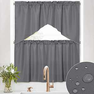 RYB HOME Valance Tiers Curtains - 4 Panels Waterproof Scratch Resistant Rod Pocket Privacy Small Window Treatment Panels for Kitchen Cabinet Bedroom Cafe Living Room, Grey