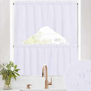 RYB HOME Window Valances for Living Room - 4 Panels Window Topper Swag Valance and Tier Curtains Set Waterproof Spillproof Privacy Drapes for Kitchen Cabinet Bath, Pure White