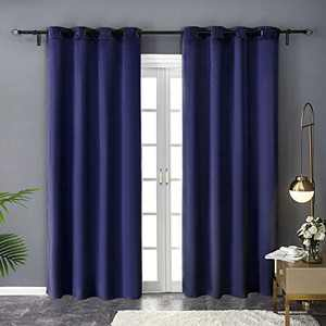PY Home & Sports Velvet Curtains 95 Inch Long 2 Panels Window Curtains for Living Room, Bedroom (52x95 Inch, Patriot Blue)