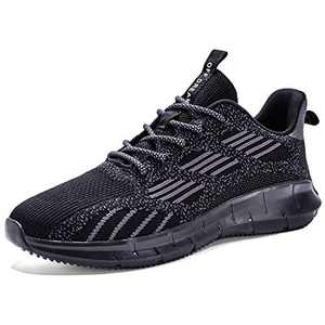 Lxso Womens Mens Walking Shoes Non Slip Breathe Mesh Sneakers Athletic Casual Footwear Runing Shoes with Reflective Shoelaces Black