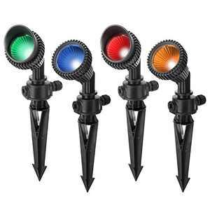 ASLUX Low Voltage Landscape Lights 5W 4-Pack Pathway Lights,12 V, IP54 Waterproof Spotlight Outdoor, 3000K Walls Trees Flags Landscape Lighting