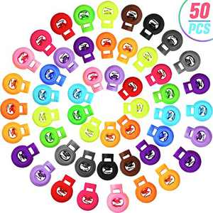 50 Pieces Plastic Cord Locks Single Hole End Spring Stop Toggle Stopper Round Cord Rope End Ball Shape Luggage Lanyard Stopper Sliding Fastener Button for Drawstring, Shoelace (Mixed Color)
