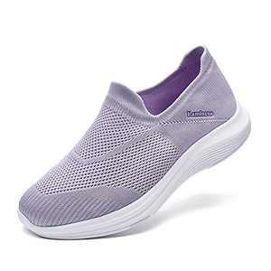 Walking Tennis Shoes - Slip On Memory Foam Lightweight Casual Comfort Sneakers for Gym Travel Work Purple Size 12