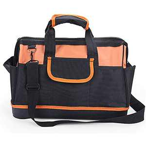 Wide Mouth Tool Storage Bag 14 inches Large Capacity Wearproof with Built-in Thickened Steel Bar Black and Orange
