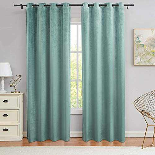 PY Home & Sports Velvet Curtains 63 Inch Long 2 Panels Window Curtains for Living Room, Bedroom(52x95 Inch, Teal)