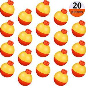 Sumind 20 Pieces Fishing Bobber Fishing Float Bobber Push Button Round Float Round Buoy Float Bobber for Fishing Tackle Accessories, Yellow and Orange