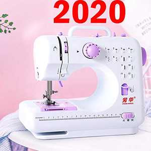 Sewing Machine Mini Electric Household Eofiti Portable Sewing Machine with Foot Pedal LED Light Overlock 2 Sewing Patterns Reverse Stitch Embroidery AC Adapter AA Battery for Amateurs Beginners