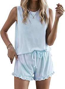 Homrain Pajama Set For Women Tie Dye Printed lounge Sets Cut Sleeveless 2 Piece PJ Sets Blue-2 XL