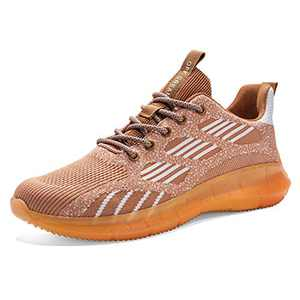 Lxso Womens Mens Walking Shoes Non Slip Breathe Mesh Sneakers Athletic Casual Footwear Runing Shoes with Reflective Shoelaces Orange