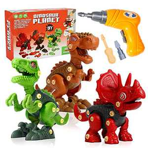 Mini Tudou Take Apart Dinosaur Toys for Kids 3 4 5 6 7 Years Old, Dino Building Learning Toys Set with Electric Drill, Including T Rex, Triceratops, Velociraptor, Construction STEM Gift for Boys Girls