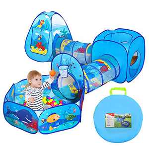 Ball Pit Tunnels and Play Tent for Toddlers, Baby Indoor Playground for Kids, Boys and Girls (Balls Not Included)