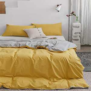ECOCOTT Duvet Cover King 3 Piece, 100% Washed Cotton Bedding Set 1 Macaroon Yellow & Mist Grey Duvet Cover with Zipper and 2 Pillowcases, Ultra Soft and Easy Care Breathable Duvet Cover King Size