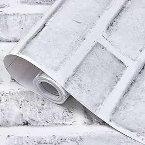 "bofeifs Peel and Stick Wallpaper Self-Adhesive Decorative Printed Imitation Brick Paper White Gray 17.7"" x 118"""