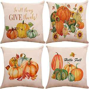 Munzong Set of 4 Pumpkin Throw Pillow Covers 16 x 16 Inch, Double Sided Autumn Decorative Cushion Cover for Thanksgiving Day Fall Harvest, Square Seasonal Pillowcases for Home Room Holiday Decor