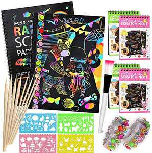 Scratch Art Set, Rainbow Magic Scratch Paper Art Crafts Notes for Kids with 8 Wooden Stylus, Gift for Teens, as Kids Art Supplies, Fun DIY Crafts