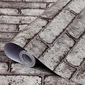 """bofeifs Brick Wallpaper Self-Adhesive Peel and Stick Paper Removable Sticker for Room Decor DIY(Gray) 17.7"""" x 118"""""""