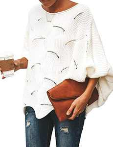 Cogild Women's Knit Sweater Batwing Sleeve Crew Neck Irregular Hem Hollow Casual Loose Pullover Jumper Tops Cream White