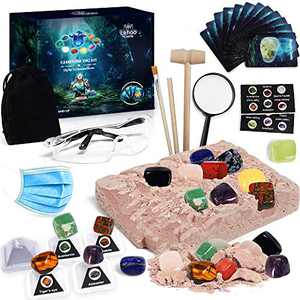 Lehoo Castle Gemstone Dig Kit with 12 Real Gems - Excavation Kits for Kids with Rock Collection Display Stands, STEM Educational Toys Gifts for Kids Ages 6 7 8 9 10