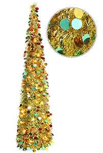 HMASYO Pop Up Christmas Tinsel Tree with Lights - 5 Foot Collapsible Colorful Sequin Artificial Christmas Pencil Trees Decorations for Home Apartment Party Indoor Outdoor (5 Foot - Colorful Golden)