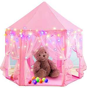 RegeMoudal Princess Tent Pink Play Tents for Girls Large Playhouse Kids Castle with 25ft Star Lights and Colorful Play Ball Toy for Children Indoor and Outdoor Games, 55'' x 53'' (DxH)