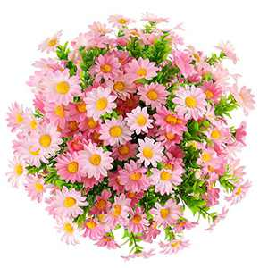Daisy Flowers Artificial 6 Pack Colorful Silk Daisy Greenery Plants for Outdoor UV Resistant Home Table Centerpieces Wedding Garden DIY Fence Decoration