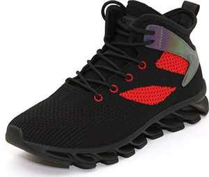 BRONAX Men's Woven High-Top Sneakers Breathable Stylish Shoes Fashion Tennis Running Lace Up Male Size 9 Young Teens Boys Stylish Athletic Mid Lightweight Lifting Fitness Footwear Black Red 43