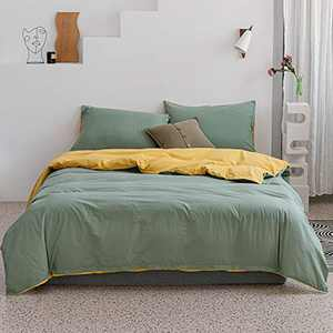 ECOCOTT Duvet Cover King 3 Piece, 100% Washed Cotton Bedding Set 1 Macaroon Yellow& Ocean Green Duvet Cover with Zipper and 2 Pillowcases, Ultra Soft and Easy Care Breathable Duvet Cover King Size