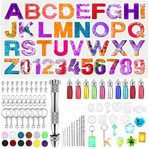 Heflashor Resin Mold Kits Silicone Alphabet Molds for Resin Keychain kit Resin Jewelry Molds for Resin Casting with Keychain Tassels and Pin Vise Set for Making House Number Keychain kit