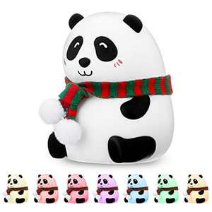 Night Light Kids SOLMORE Children LED Bedside Light Silicone Panda Lamp, USB Rechargeable Baby Sleep Aid LED Night Light with 7 Colors, Touch Control, 1200mAh Night Light for Children's Room