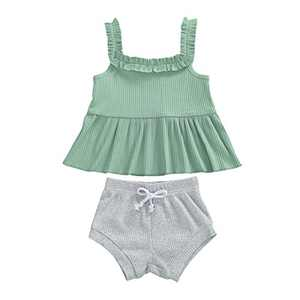 Toddler Baby Girls Knitted Shorts Set Solid Color Halter Ruffle Top Drawstring Shorts Pants 2Pcs Summer Clothes (K-Green+Gray, 18-24M)