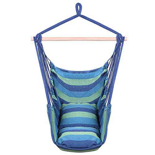 Hanging Hammcok Chair, Sky Chair with Pillows Cotton Canvas Rope Chair Blue