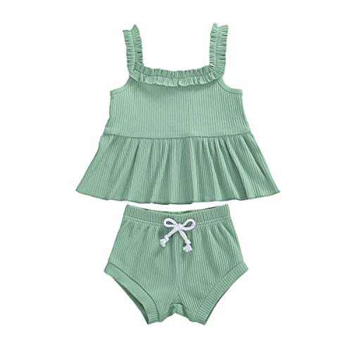 Toddler Baby Girls Knitted Shorts Set Solid Color Halter Ruffle Top Drawstring Shorts Pants 2Pcs Summer Clothes (K-Green, 18-24M)