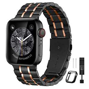 Bestig Compatible for Apple Watch Band 38mm 40mm Premium Solid Stainless Steel Metal Replacement Adjustable Sport Wristband Bracelet Strap for iWatch Series 6 SE 5 4 3 2 1(Matte Black/Polished Rose Gold)