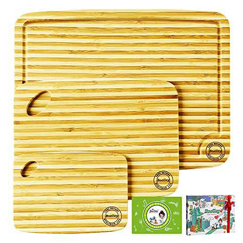 Boelley natural bamboo cutting board - 3 piece set w/handles Eco-friendly Kitchen sustainable wooden board for vegetable meat - rustic serving plate for cheese and charcuterie-lifetime replacement