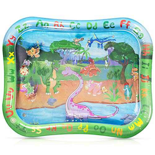 Winique Tummy Time Baby Water Mat, 40 x 32 Inch Alphabet Animal Early Development Educational Play Mat, Inflatable Infant Toy for 3-12 Month Newborn Boys Girls, Green
