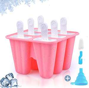 Popsicle Molds for Kids, Teetookea 6 Pieces Silicone Ice Pop Molds, Reusable Popsicle Maker with Silicone Funnel & Cleaning Brush (Pink)