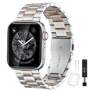 Bestig Compatible for Apple Watch Band 38mm 40mm Premium Solid Stainless Steel Metal Replacement Adjustable Sport Wristband Heavy Strap for iWatch Series 6 SE 5 4 3 2 1 (Matte Silver/Polished Rose Gold)